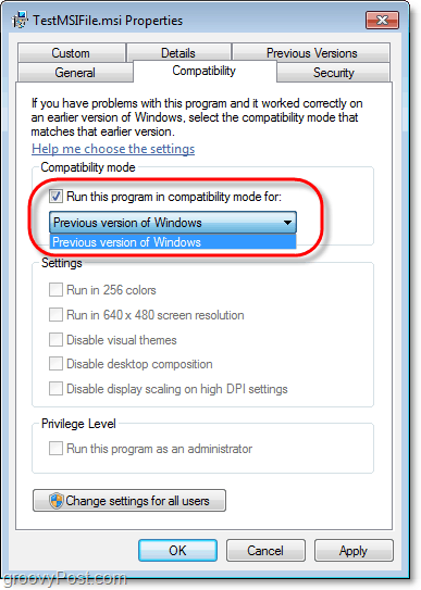 how to view compatibility information for a windows 7 msi file