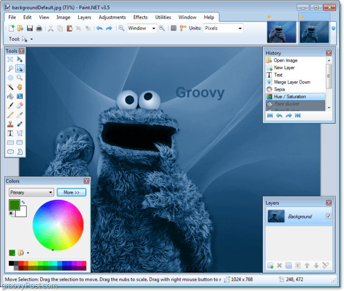 turn th ecookie monster even more blue with some of Paint.NET's new features from the 3.5 update