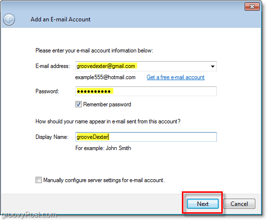 enter credentials for email account in windows live mail