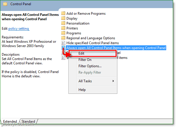 always open all control panel items when opening control panel in windows 7