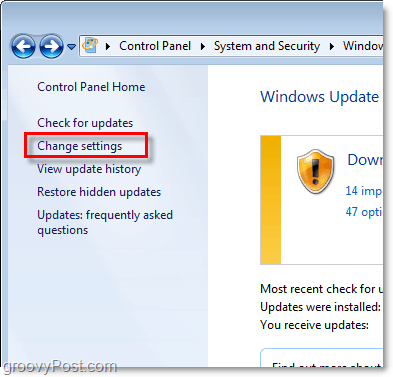 Windows 7 - Windows Update Configuration Link Screenshot