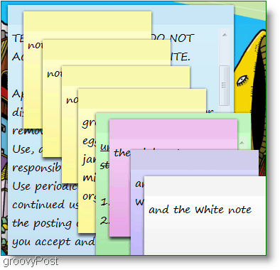 Windows 7 Sticky Notes : Screenshot