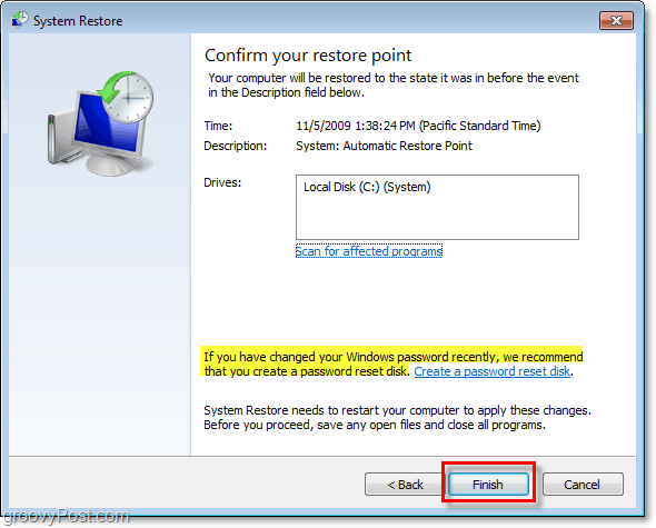 how to confirm that you are restoring your windows 7 with a restore point and create a password reset disk