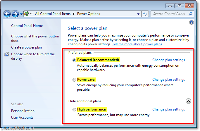choose a power plan from the list, do a balanced, power, or high performance plan.  Then change the settings for these Windows 7 power plans