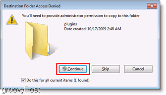 Screenshot: Access Denied File Copy Menu