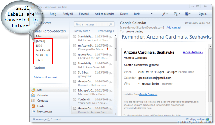 email client for windows live mail, gmail labels are converted to folders in windows live mail
