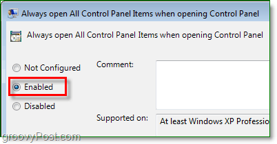 enable option for always open all control panel items in windows 7