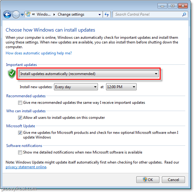 Windows 7 - Windows Update Configuration Menu Screenshot