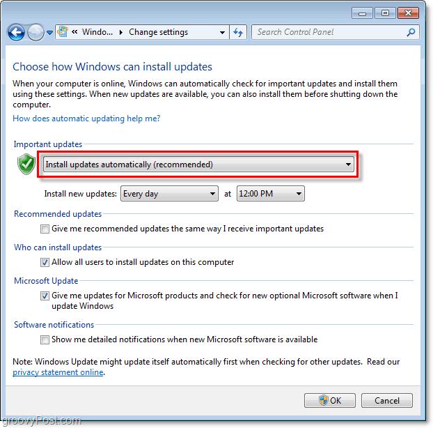 Windows 7 - Windows Update Configuration Menu Screenshot