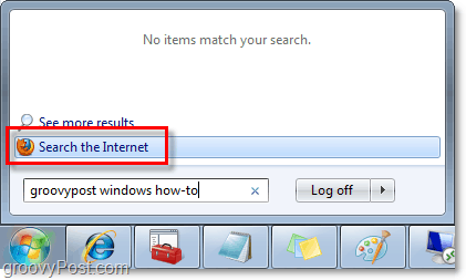 do windows 7 searches and internet searches from the start menu orb search box