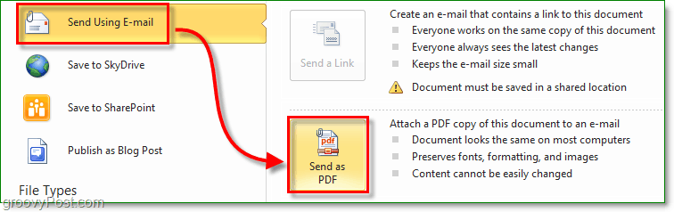 create a secure pdf document and send it through email using office 2010