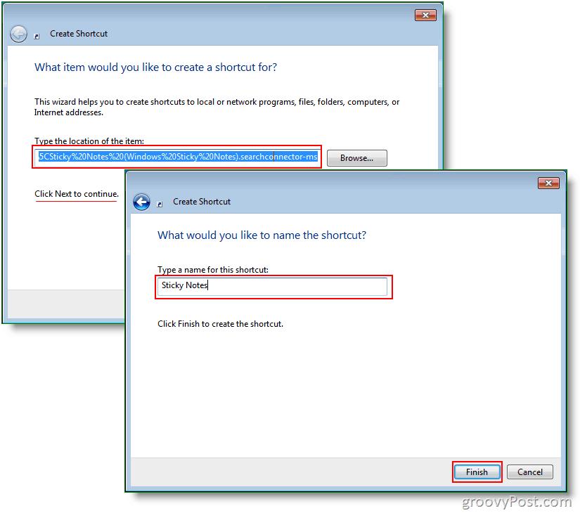 Windows 7 Create New Shortcut : Screenshot