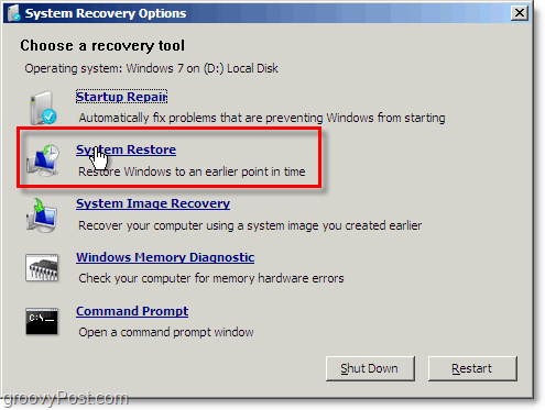 the windows 7 system restore is easy to access from the repair boto mode