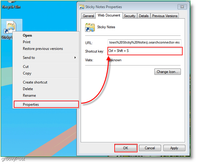 Windows 7 Create New Shortcut Key Assignment Menu : Screenshot