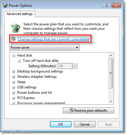 click the change settings that are currently unavailable, then you'll be able to see all of the grayed out settings on the advanced power plan options window in windows 7