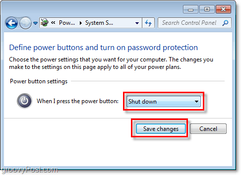 adjust what your windows 7 shutdown button will do, click save changes to finish