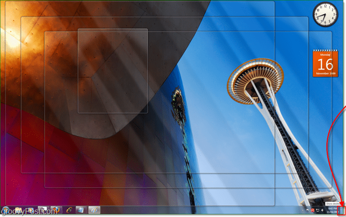 aero peek makes all windows 7 active windows transparent