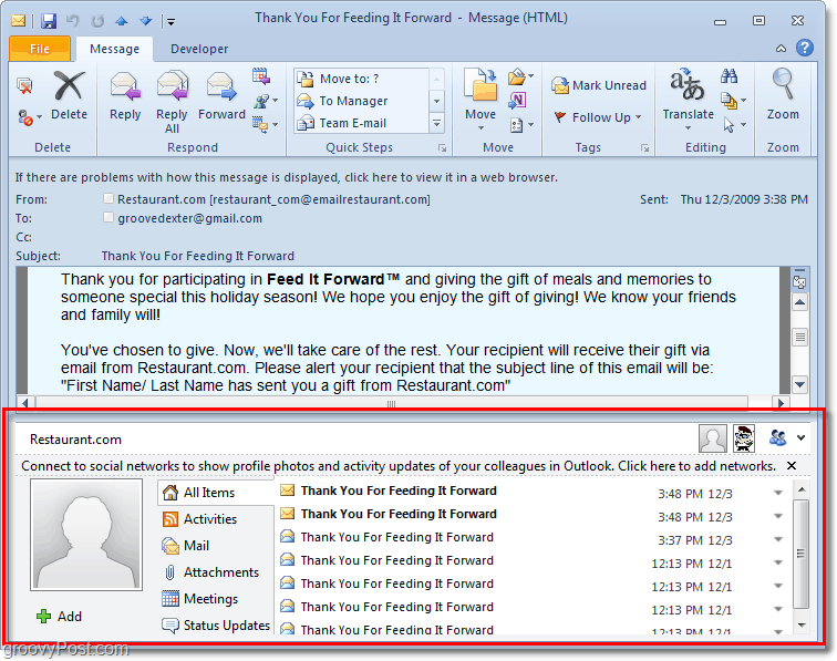 the people pane is annoying and takes up half of your screen in outlook 2010