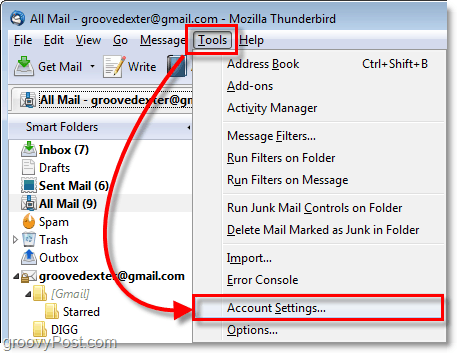 access the thunderbird 3 account settings