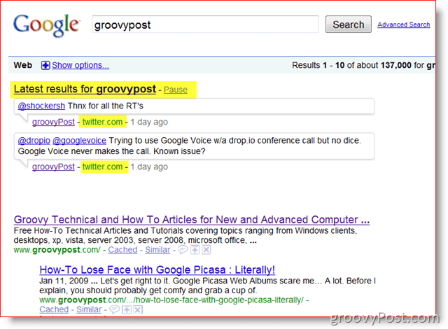 GroovyPost and Google Real-time Search