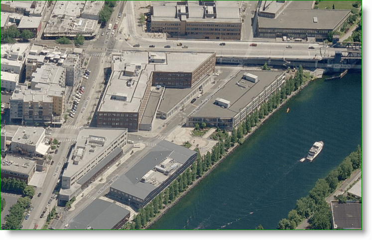 Bing Maps Bird's Eye View - Google HQ in Seattle - Fremont Wa