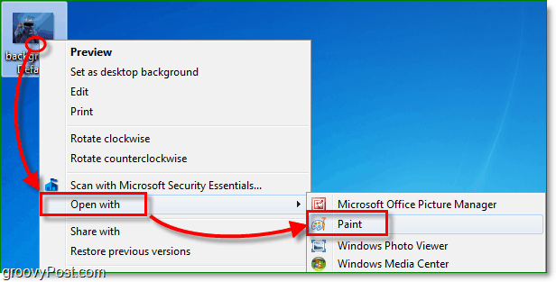 right click your image in windows 7 and then select open with paint