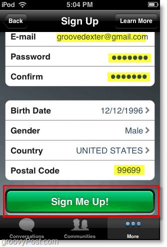 enter the rest of your details and click sign me up