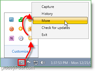 access the jing setting page from the system tray using the more option