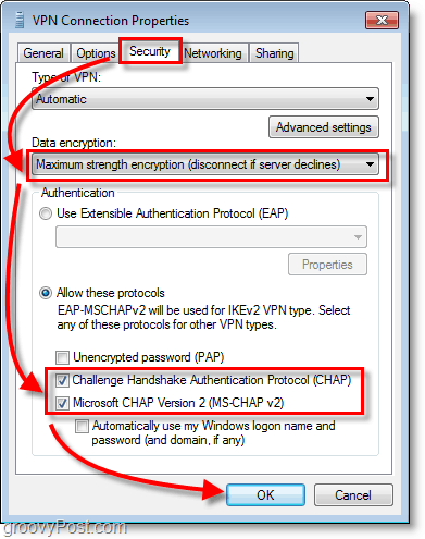 change the security settings to data encryption = maxium strength encryption and enable both Chap and Chap V2