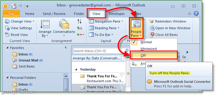 How-To Disable The People Pane In Outlook 2010