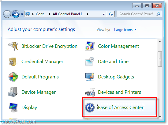 Go into the Ease of Access Center through the windows 7 control panel