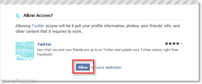 click to allow twitter to access your facebook account