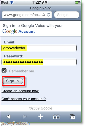 find the google voice mobile app site and then enter your credentials