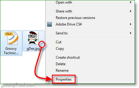 right-click a file and then view its properties from windows 7
