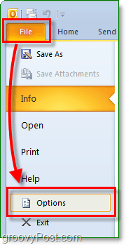 in microsoft outlook 2010, click the file ribbon to enter backdrop and then click the options button