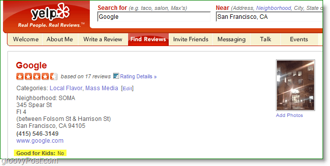 a yelp review of Google
