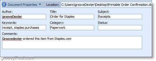 The document properties window in Microsoft Office 2010