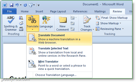 how to translate an entire microsoft word document into spanish or any other language