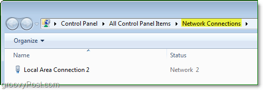 the control panel network connections window in windows 7