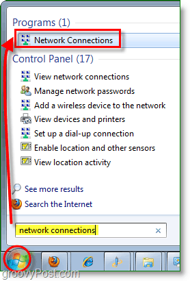 open your network connections dialog in windows 7