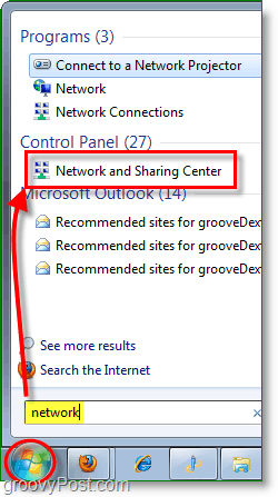 access the network and sharing center in windows 7