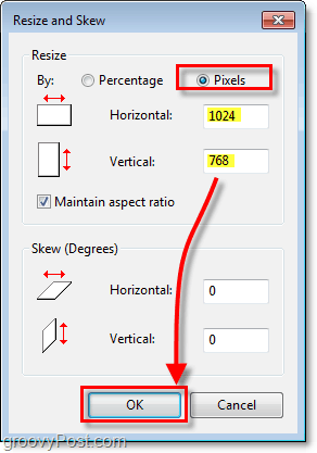 manually set the size of your windows 7 image using paint and the pixels option
