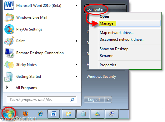 access the device manager from windows 7 start menu