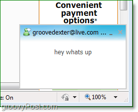 where to find windows live messenger pop-ups when using online browser messaging