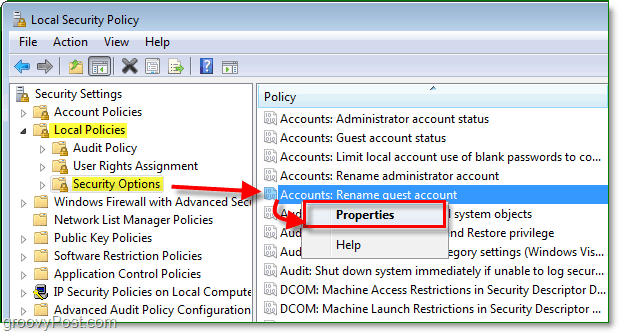 how to modify the account name of the guest account in windows 7 through the local security policy