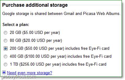price list of google storage services