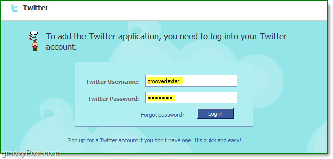 login to your twitter accoun through facebook