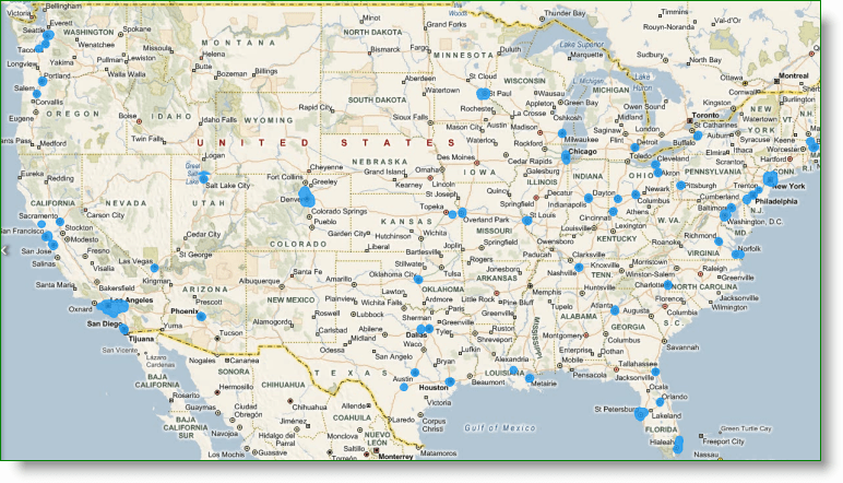 Bing Maps StreetSide US Coverage