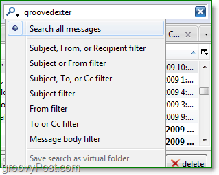 a picture of the search box and filters in thunderbird 3