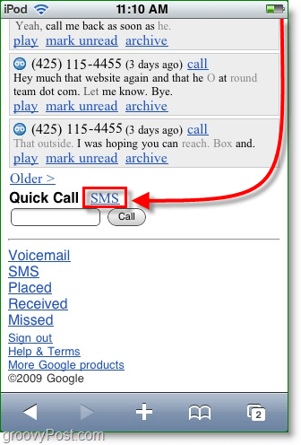 scroll down and click the sms button in google voice